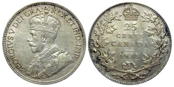 Canadian 25 cent Silver coin in Extremely Fine Condition