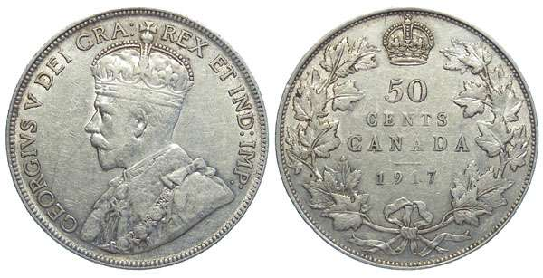 Canadian 50 cent Silver coin in Very Fine Condition