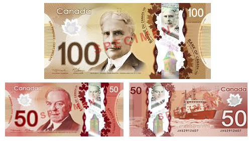 Canadian $50 and $100 polymer banknotes